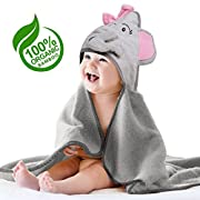 Elephant Hooded Baby Towel – 100% Organic Bamboo Bath Towels for Kids, Toddlers, and Newborn Babies – Soft, Absorbent, Hypoallergenic, Hooded Towel for Girls – Perfect Baby Shower Gift by N.H.S. Baby