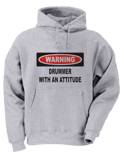 Warning: Drummer with an attitude Youth Hooded Sweatshirt (for Kids) ASH GREY XL ()