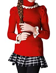 uxcell® Girls Turtle Neck Puff Sleeves Pullover Knit Top