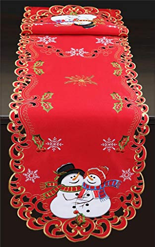 Creative Linens Holiday Christmas Table Runner Embroidered Snowman Snowflake Poinsettia Oval Dresser Scarf Red Gold (15x69