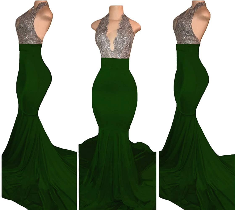 Dark Green Tsbridal Women Long Mermaid Prom Dresses Sexy Halter Beading Evening Party Dress