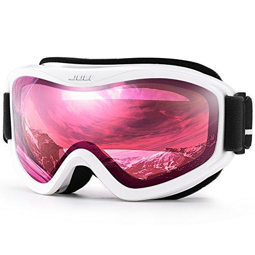 JULI OTG Ski Goggles-Over Glasses Ski / Snowboard Goggles for Men, Women & Youth - 100% UV Protection Anti-fog Dual Lens(White Frame+38%VLT Vermillion Red Len)