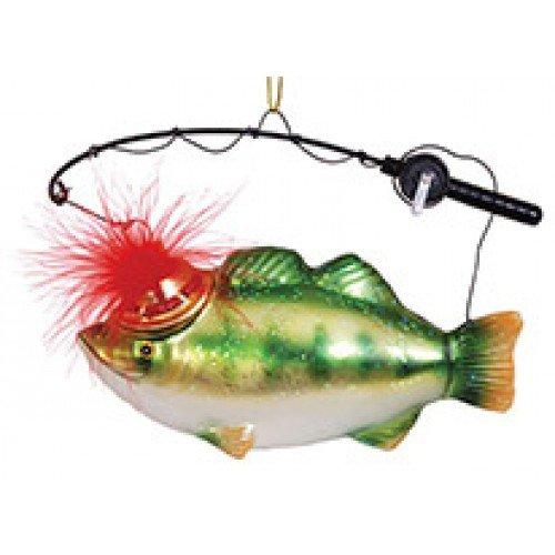 (Blown Glass Fishing pole Fish Ornament 4.5