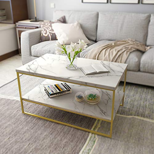 Roomfitters White Marble Print Coffee Table with Gold Metal Legs, Living Room ()