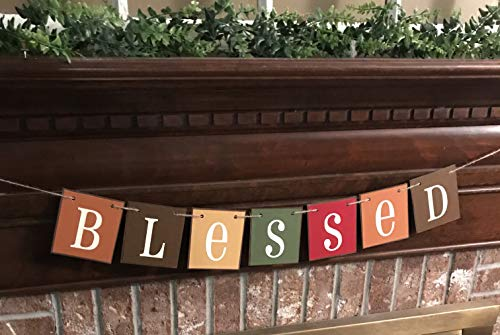 (Blessed Fall Farmhouse Banner Garland Bunting Sign Brilliant Autumn Colors)