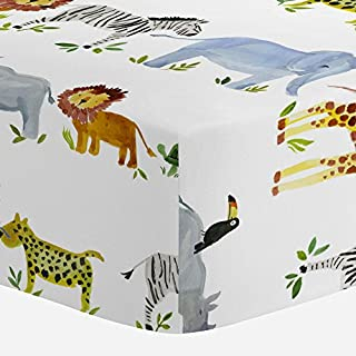 Carousel Designs Painted Zoo Crib Sheet - Organic 100% Cotton Fitted Crib Sheet - Made in The USA
