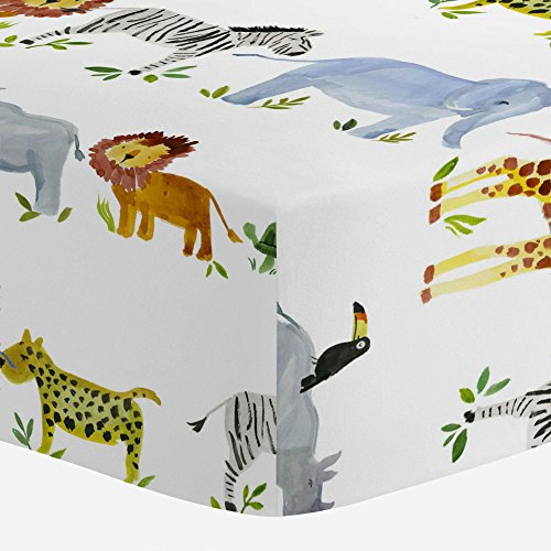- Carousel Designs Painted Zoo Crib Sheet - Organic 100% Cotton Fitted Crib Sheet - Made in The USA