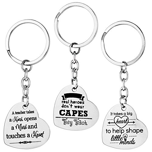 Halloween Teacher Gift Ideas (AIEX Teacher Appreciation Gifts Key Chain Heart Shaped Key Ring Set Message Keychain Halloween Thanksgiving Christmas Gift for Women Men(3)