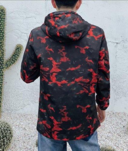Pockets Mens Multicamo Tops Red Jacket XINHEO Zip Full Windproof Hood 74qwXT