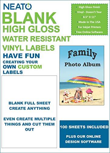 (Neato Blank White Full Sheet Printable Labels - 100 Sheets - Water Resistant Glossy Vinyl Printable Sticker Paper - Online Design Label Studio)