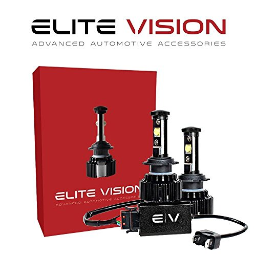Elite Vision Advanced Automotive Accessories - Elite LED Conversion Kit H7 for Bright White Headlights Bulbs, Low Beams, High Beams, Fog Lights