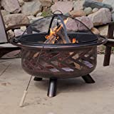 Red Ember Aspen Bronze Round Fire Pit with Grill Grate and FREE Cover