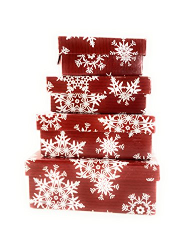 Nesting Boxes Gift Set Christmas Snowflake 1 Set of 4 Nested Boxes