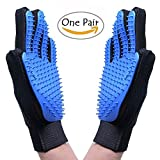 Pet Grooming Glove,Dog Cat Massage Tool Hair Remover Mitt,Horse Gentle Deshedding Brush Long & Short Fur Comb, Five Finger Design Bathing Brush,Blue (1 Pair)