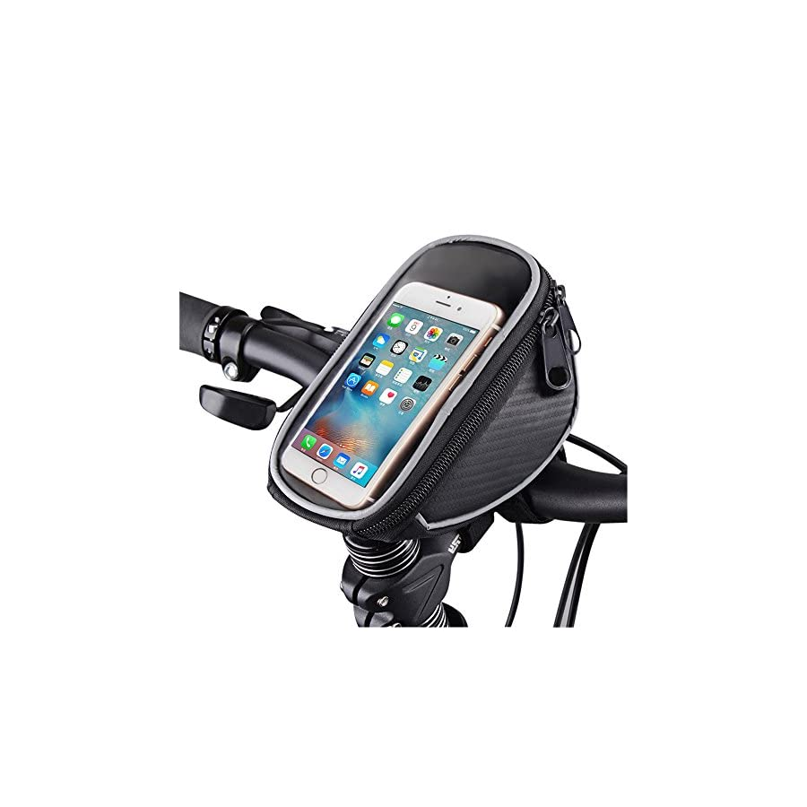 """FOXNOV Bike Phone Mount Bicycle Holder, Universal Cell Phone Bicycle Rack Handlebar & Motorcycle Holder Cradle for Smartphone Phones Up To 3.5"""" Wide, Boating GPS"""
