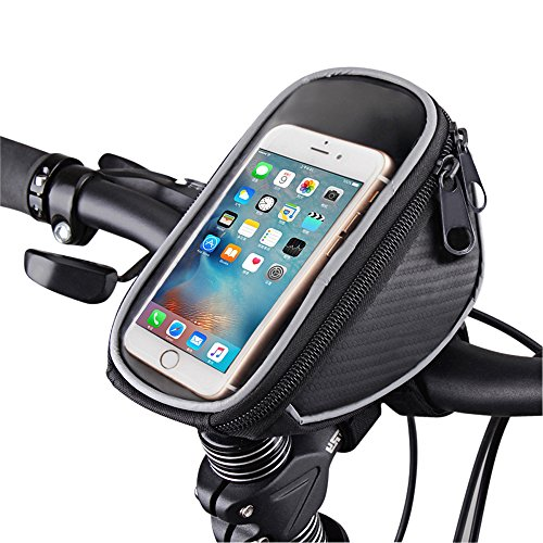 "FOXNOV Bike Phone Mount Bicycle Holder, Universal Cell Phone Bicycle Rack Handlebar & Motorcycle Holder Cradle for Smartphone Phones Up To 3.5"" Wide, Boating GPS"