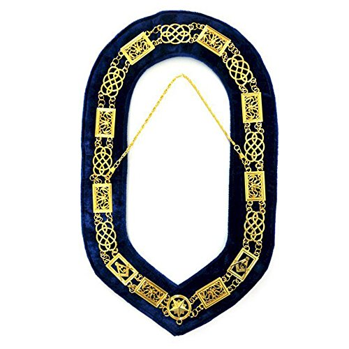 (Bricks Masons Grand Lodge Chain Collar - Gold/Silver on Blue + Free Case)