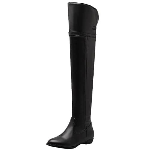 2d2b5c295a3d HooH Women s Thigh High Boots Adjustable Strap Buckle Knight Boots Flats  Over The Knee Boots Black