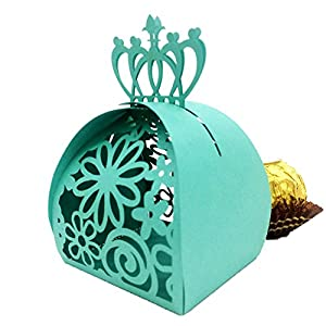 WOMHOPE® 50 Pcs - Crown Lock Flower Style Hollow Laser Cut Roses Flowers Wedding Candy Box Chocolate Candy Holders Party Favors for Bridal Shower,Wedding,Party,Birthday Gift (Green)