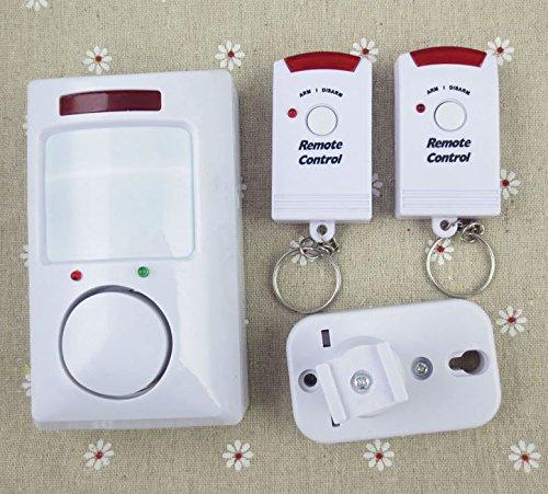 Alarma inalámbrica con sensor de movimiento de Pir Plus 2 mandos a distancia para cobertizo, cochera, caravana, alarma con...