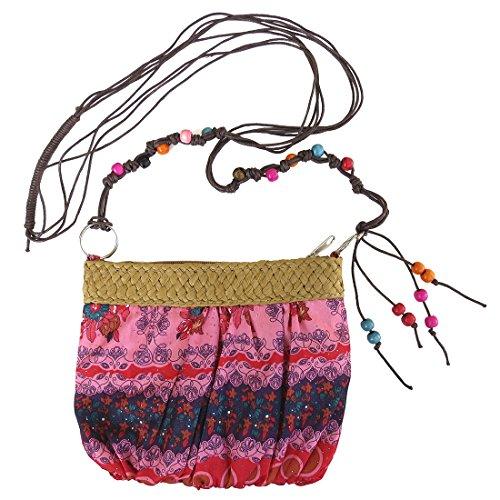 Small Print Handbag Beaded Crossbody Strap Red and Pink (Corona Extra Crystals)