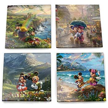 Trend Setters - Disney Mickey and Minnie Mouse Glass Coaster Set - Paris Alps Ireland Hawaii - For Gifting Collecting - Comes with stylish modern wooden holder