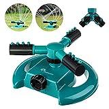 PATHONOR Automatic Lawn Sprinkler Watering Sprinkler For Lawn 360 Rotating Lawn Sprinkler Adjustable Watering Sprinkler For Kids Covering Large Area Design Durable 3 Arm(Green Lawn Sprinkler)