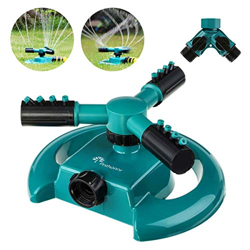 PATHONOR Automatic Lawn Sprinkler Watering Sprinkler For Lawn 360 Rotating Lawn Sprinkler Adjustable Watering Sprinkler For Kids Covering Large Area Design Durable 3 Arm(Green Lawn Sprinkler)
