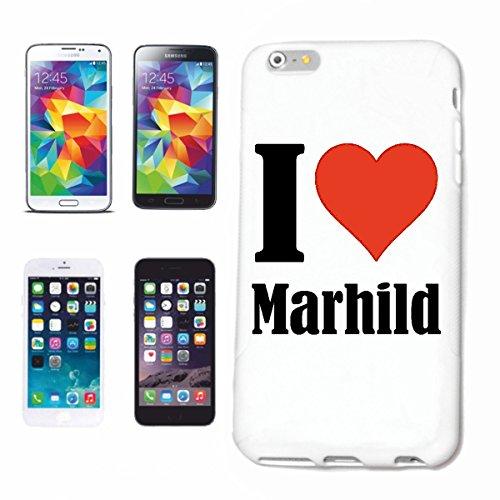 """Handyhülle iPhone 4 / 4S """"I Love Marhild"""" Hardcase Schutzhülle Handycover Smart Cover für Apple iPhone … in Weiß … Schlank und schön, das ist unser HardCase. Das Case wird mit einem Klick auf deinem S"""