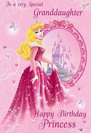 Disney Princess Birthday Card Granddaughter Amazon Office