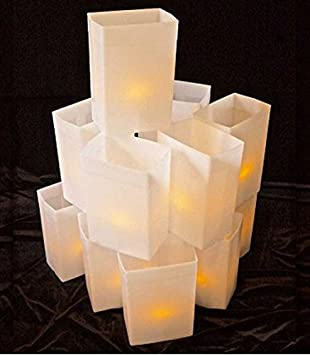 Luminary Light Sets - Hard Plastic Reuseable Weather Proof Box with LED Tea Lights (WHITE & Amazon.com: Luminary Light Sets - Hard Plastic Reuseable Weather ... azcodes.com
