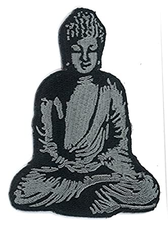 Zen Buddha Stone Statue Yoga Yogi Iron-On Patch (3.25