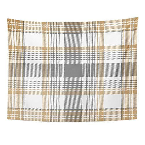Tarolo Decor Wall Tapestry Beige Abstract Gold Platinum Checkered Plaid Gray Check Classic Cross 80 x 60 Inches Wall Hanging Picnic for Bedroom Living Room Dorm