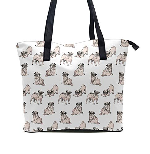 Tote Leather Dog - Tote for Women PU Leather Shoulder Bag Women's Large Capacity Shopping Bag Cute Dogs Pug Pattern