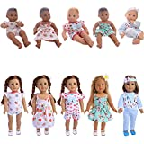 "ZWSISU 5 Sets Alive Baby Doll Clothes for 14-16 Inch Dolls & 18"" American Girl Doll"