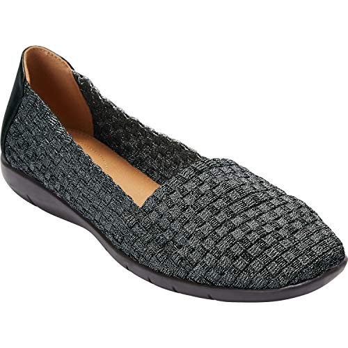 (Comfortview Women's Plus Size The Bethany Flat - Black Metallic, 9 WW)