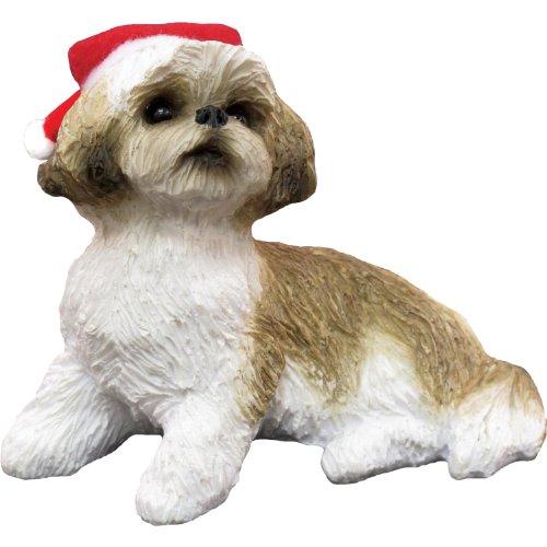 White Tzu Shih Ornaments (Sandicast Gold and White Shih Tzu with Santa Hat Christmas Ornament)