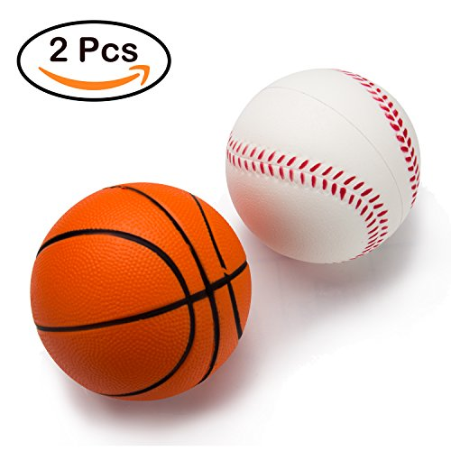 BeYumi Slow Rising Toy, Basketball + Baseball Simulation Squeeze Toys Sport Themed Balls Toys for Kids and Adults, Squeeze Foam Ball for Stress Reliever, Party Favor Toy …