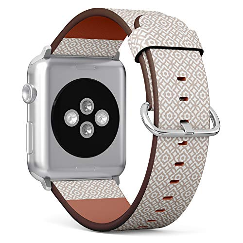 [ Compatible Small Apple Watch 38/40 mm ] Replacement Leather Band Bracelet Strap Wristband Accessory // Trellis On White Pattern