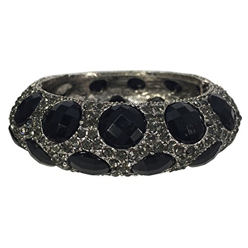 Stunning Statement Dots Resin Stone and Rhinestone Hinged Bangle Bracelet - Assorted Colors (Black Grey SilverTone)
