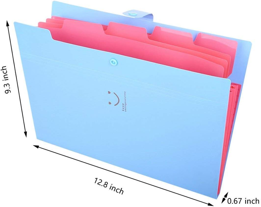 A4 Papier F/ächermappe F/ächermappe Akcordeon Dokumentenorganizer blau