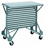 Akro-Mils 30812 Powder Coated Steel Mobile Bin Cart with Steel Worktop, 38-1/2-Inch Wide by 24-Inch Deep by 36-1/2-Inch High