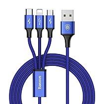 ライトニングケーブル Baseus USB Type-Cケーブル 3in1 充電ケーブル USB Type C/ライトニング/Micro USB ケーブル 3A急速充電 iOS/Android 同時給電可能 iPhone8 8plus 7 7 plus / 6 6s plus/iPad/Macbook 1本3役 多機種対応 1.2m