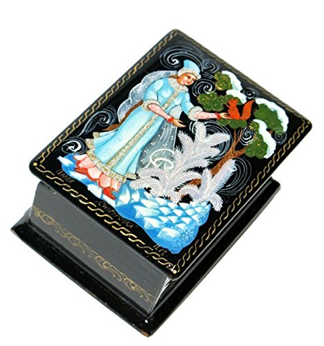 Russian Hand Painted Lacquer (Winter Forest Russian Fairy Tale Inspired Hand Painted Palekh Miniature Lacquer Box)