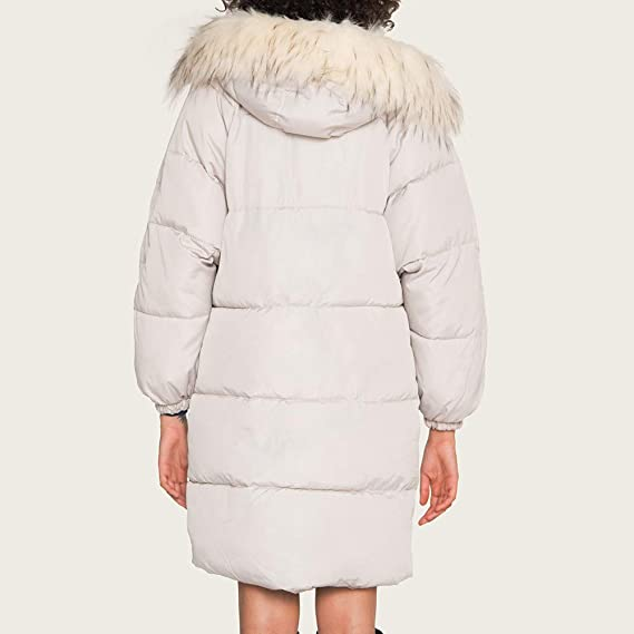 WSPLYSPJY Mens Faux Fur Hooded Drawstring Waist Padded Parka Outerwear and Coats