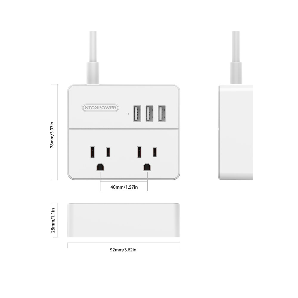 NTONPOWER Travel Power Strip 2 Outlets 3 USB Charging Ports Small Power Station with 3.3ft Extension Cord for Smartphone Tablets Cruise Hotel Office Bedside Table - White by NTONPOWER (Image #2)