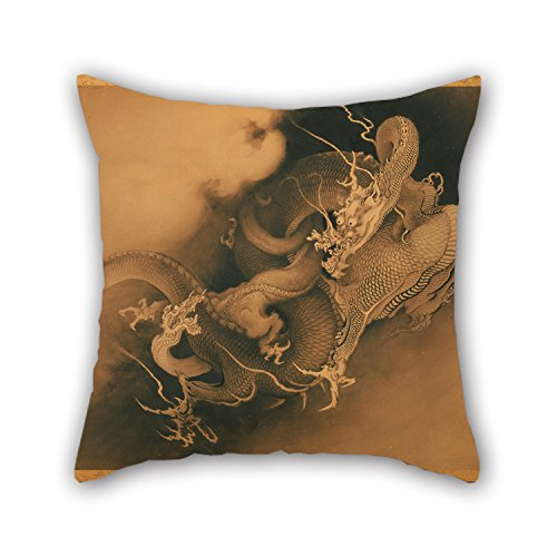 Bestseason 16 X 16 Inches / 40 By 40 Cm Oil Painting KanÅ HÅgai, Japanese - Two Dragons In Clouds Throw Valentine Day Pillow Case Two Sides Is Fit For Relatives Bench Home Theater Floor Teens Boys (Gusseted Pillow Boudoir)
