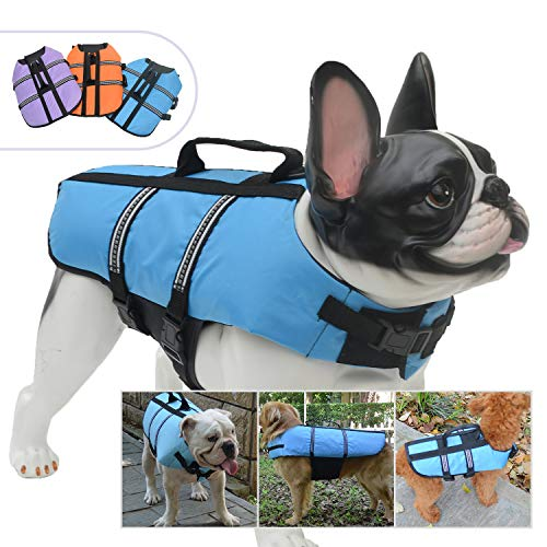 Jacket Pug - Lovelonglong Dog Lifejacket Life Jackets for Pugs Small Medium Dogs Swimming Safe Boating Coat Dog Swim Protect Reflective Vest Pet Life Preserver Blue L
