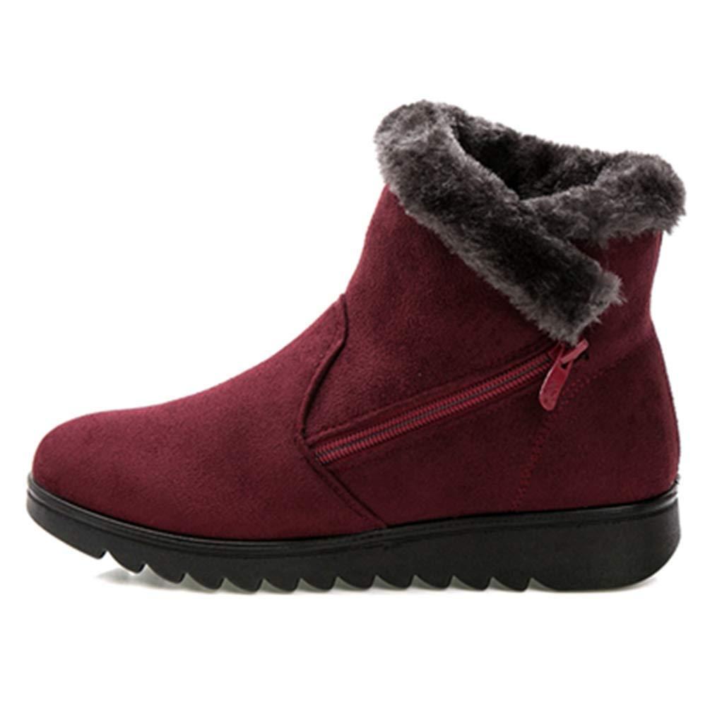 ZHRUI Frau beschuht Winter-Schnee-warme Stiefeletten-Plattform-weibliche niedrige Absatzschuhe (Farbe   Rot Größe   5=38 EU)