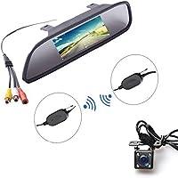 """Auto Wireless 4.3"""" inch HD TFT LCD Monitor Schermo a Specchio + Universale Montaggio a Vite Telecamera Retromarcia IR Visione Notturna(Parcheggio Posteriore Retromarcia Sistema di Assistenza Kit)"""